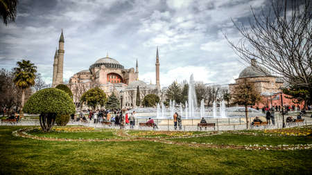 hagiasophia: Istanbul, Turkey - 4 March, 2013: View of Hagia Sophia (Ayasofya), historic centre of Istanbul , 1985, Turkey, 6th century.