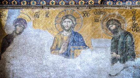 hagiasophia: Istanbul, Turkey - February 9, 2013: Mosaic of Jesus Christ, Hagia Sophia in Istanbul, Turkey