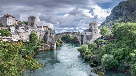 Mostar, Bosnia Herzegovina - May 1, 2014: Stari Most bridge in Mostar Editorial