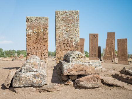 seljuk: Bitlis, Turkey - September 28, 2013: Seljuk Cemetery of Ahlat, the tombstones of medieval islamic notables