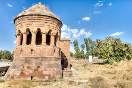 mediaval: Bitlis, Turkey - September 28, 2013: Emir Bayindir Kumbet (tomb) is a mediaval Seljuk mausolem