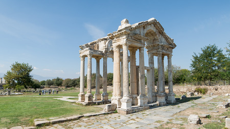 gateway: Aydin, Turkey - October 9, 2015: The Monumental gateway of Aphrodisias
