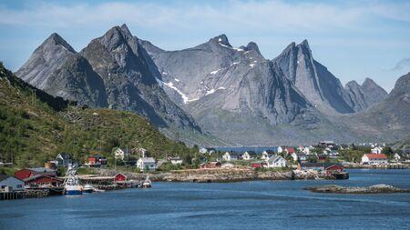 Reinebrinen, Norway - June 1, 2016: Scenery from Reine, a famous fishing village in Norway