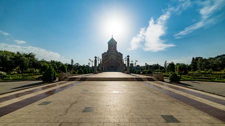 tbilisi: Tbilisi, Georgia - August 6, 2015: The Holy Trinity Cathedral of Tbilisi, Georgia Editorial
