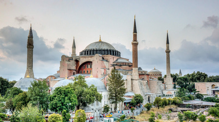 Istanbul, Turkey - 4 March, 2013: View of Hagia Sophia (Ayasofya), historic centre of Istanbul  1985, Turkey, 6th century.