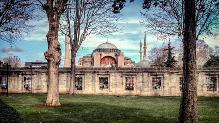 Istanbul, Turkey - 4 March, 2013: View of Hagia Sophia from the Blue Mosque gardens, historic center of Istanbul , Turkey, 6th century.