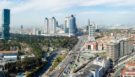 disctrict: Istanbul, Turkey - February 22, 2017:  Aerial view Levent district in Istanbul, showing Buyukdere avenue and important shopping malls
