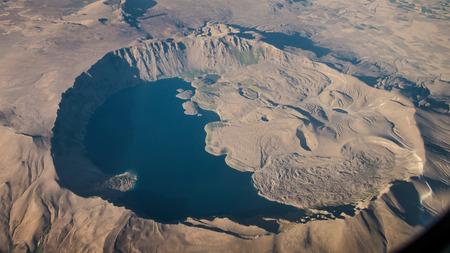 Bitlis, Turkey - September 30, 2013: Nemrut dagi is a dormant volcano in Bitlis.  Nemrut lake occupies nearly half of the caldera. Editorial