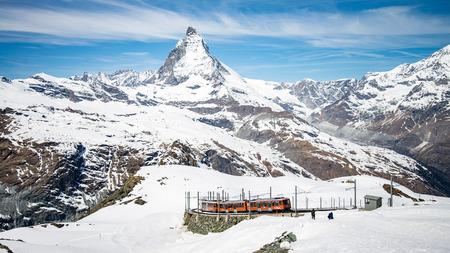 ZERMATT, SWITZERLAND - May 16. 2017: Gornergrat railway in Zermatt with the amazing Matterhorn in the background, Switzerland Editorial