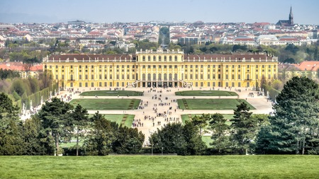 gloriette: Vienna Austria - April 2014: View of Schonbrunn Palace, Vienna, Austria Editorial