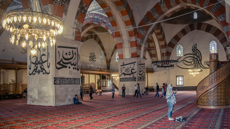 Edirne, Turkey - May 2014: Interior of the Selimiye Mosque.The Selimiye Mosque, Built By Mimar Sinan In 1575 in Edirne, Turkey