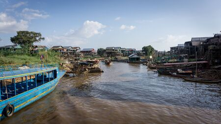 Fisherman village of Kompong Khleang at Tonle Sap Lake, Cambodia. The lake is the largest in southeast Asia.