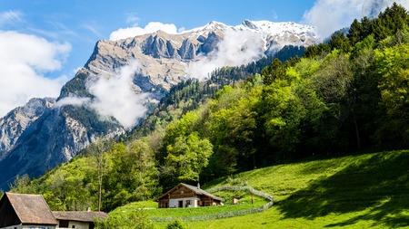 Maienfeld, Switzerland - May 2017: Heididorf, the village of Heidi in Swiss Alps