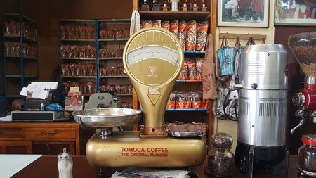 Addis Ababa, Ethiopia - October 2017: Tomoca Coffee Shop in the Piazza-downtown area exhibits italian-inspired vintage machinery for the preparation of local coffee or Buna