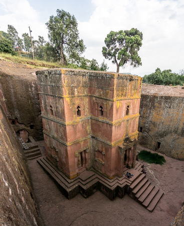 Lalibela, Ethiopia - September 2017: Unique monolithic rock-hewn Church of St. George
