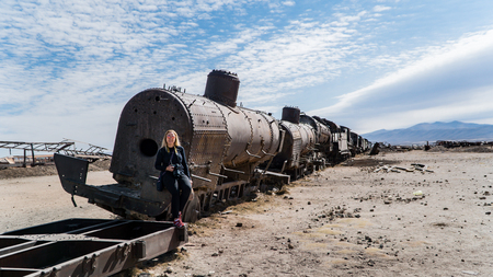 Uyuni, Bolivia - September 2017: Rusty old train at the Train Cemetery in Uyuni desert, Bolivia, South America