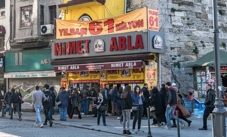 Eminonu, istanbul, Turkey - January 2018: Nimet abla is the oldest national lottery representative of Turkey founded in 1928