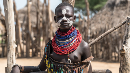 Omo valley, Ethiopia, September 2017: Portrait of unidentified Karo tribe woman in Colcho, Omo Valley, Ethiopia. Editorial