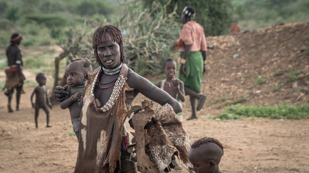 Omo Valley, Ethiopia - September 2017: Unidentified woman with her baby from the tribe of Hamar in the Omo Valley of Ethiopia
