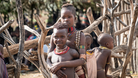 Omo Valley, Ethiopia - September 2017: Unidentified boys from the tribe of Hamar in the Omo Valley of Ethiopia