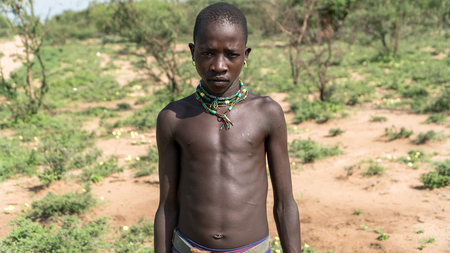 Omo, Ethiopia - September 2017: Portrait of an unidentified Ethiopian tribal boy