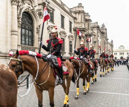 Lima, Peru - August 2017: Guards of the presidential palace marching in the National Day of Peru