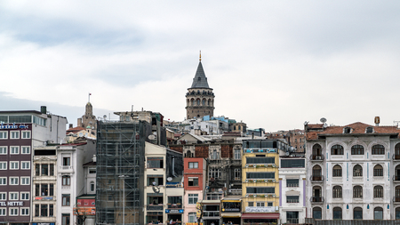 istanbul, Turkey - April 2018: Istanbul cityscape in Turkey with Galata Tower, 14th-century city landmark in the middle.