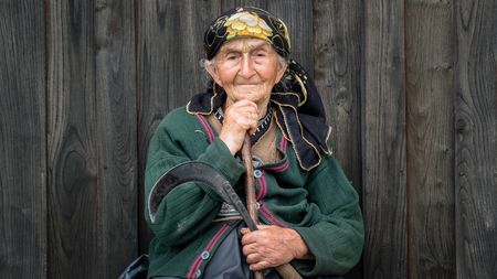 Rize, Turkey - July 2017: Portrait of an unidentified local woman from Blacksea Karadeniz region with her traditional outfit Editorial