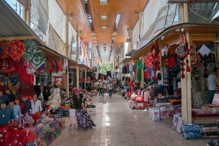 Adiyaman, Turkey - July 2018: Unidentified people shopping in Adiyaman city historical old Oturakci bazaar inside the old city, Turkey Editöryel