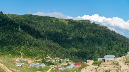 Artvin, Turkey - July 2018: Misirli village in highlands of Blacksea region with traditional wood homes, Artvin, Turkey Stok Fotoğraf - 110720514