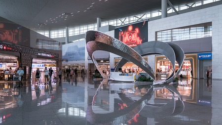 Incheon, South Korea - August 2018: View of Incheon International Airport interior 新聞圖片