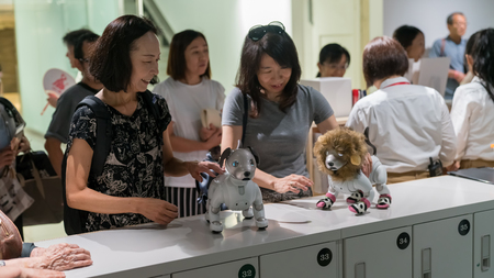Tokyo, Japan - August 2018: Unknown women interacting with Sony Aibo robots in a Sony showroom in Tokyo