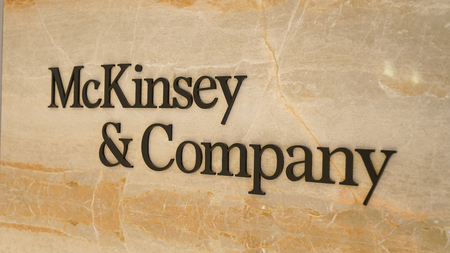 Istanbul, Turkey - February 2019: New branded McKinsey and Company logo written on marble
