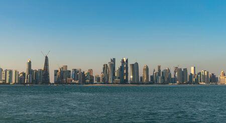 Doha, Qatar - February 2019: Doha Qatar skyline cityscape with skyscrapers