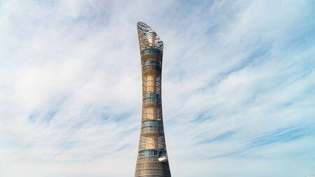 Doha, Qatar - February 2019: Aspire Tower, nicknamed Torch Doha, located in the Aspire Zone complex near the Khalifa International Stadium Stok Fotoğraf - 128024388