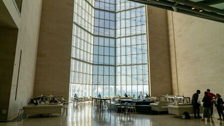 Doha, Qatar - February 2019: Inside view of the iconic Museum of Islamic Art building designed by architect I. M. Pei. Editorial
