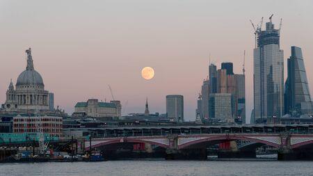 London, United Kingdom - January 2019: Panoramic view of City London skyline