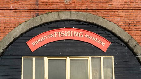 Brightron, UK - January 2019: The sign above the entrance to the Brighton Fishing Museum in Brighton