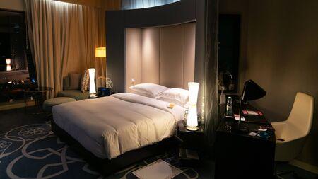 Doha, Qatar - February 2019: W Hotel room in Qatar Stok Fotoğraf - 128024537