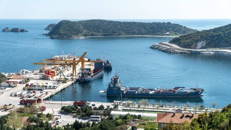 Marmara island harbour where marble products are loaded to cargo ships, Balikesir, Turkey