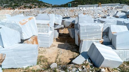 Marble blocks extracted from a quarry in Marmara island, Turkey