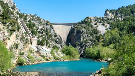 Oymapinar Dam with Manavgat river in Antalya Stock Photo