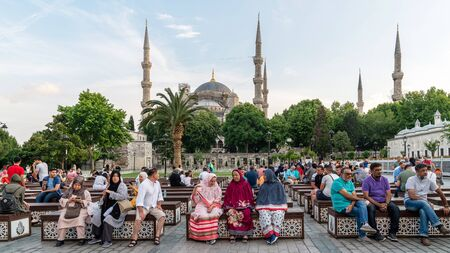 istanbul, Turkey - June 2019: Tourists resting and relaxing infront of Blue Mosque Sultanahmet Camii Editöryel