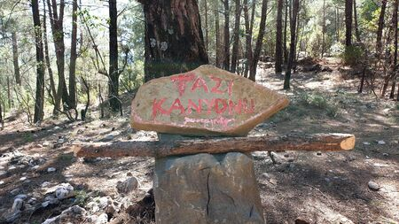 Tazi Canyon signage writing Tazi Kanyonu in Turkish, Manavgat, Antalya,Turkey Stock Photo
