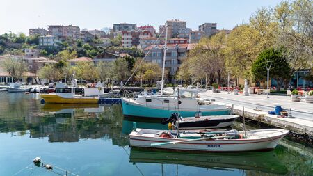 Marmara Island, Turkey - April 2019: Marmara island view with boats. Marmara island is 2 hours away from istanbul with ferryboat, in the Marmara sea, Turkey
