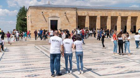 Ankara, Turkey - August 2019: Turkish people in Anitkabir Mausoleum of Ataturk with his name written on tshirts, Ankara, Turkey
