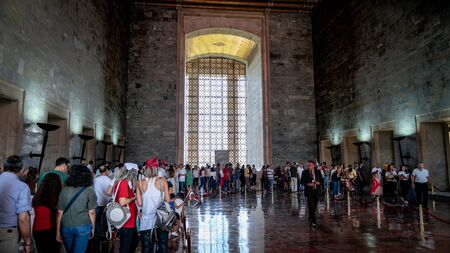 Ankara, Turkey - August 2019: Anitkabir Mausoleum of Ataturk with people visiting the Great Leader Ataturk in his grave to convey his love and respect. Editorial