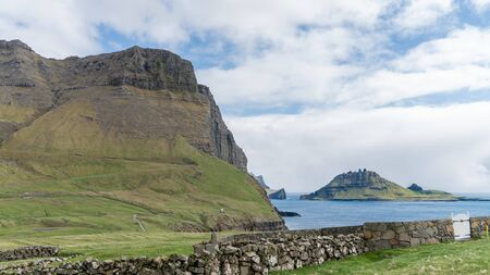 Dramatic landscape on Faroe Islands. The nature of the Faroe Islands in the north Atlantic