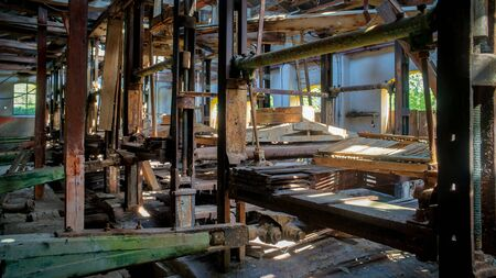 Rusty equipment in an abandoned old marble quarry factory in Marmara island, Balikesir, Turkey