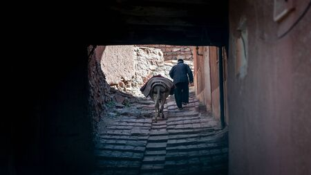 Abyaneh, Iran - May 2019: Unidentified man with a donkey is walking down a narrow road